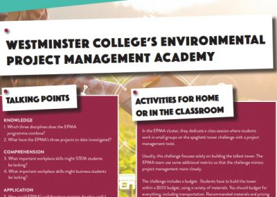 Westminster College's Environmental Project Management Academy